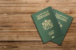 morocco Passport on Wood Lines Background Banner with Copy Space