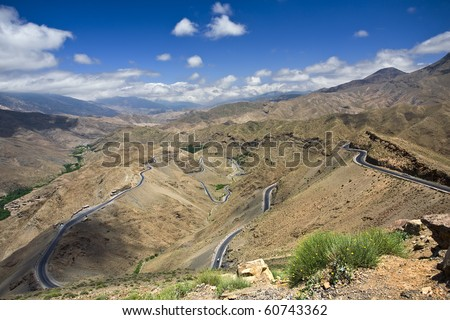 Morocco. The High Atlas Mountains. There is breathtaking view from the top of the pass Tizi n'Tichka