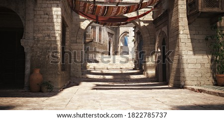 Morocco themed background of an empty stoned interior courtyard with shade cloth tapestries and pots and plants accents. 3d rendering