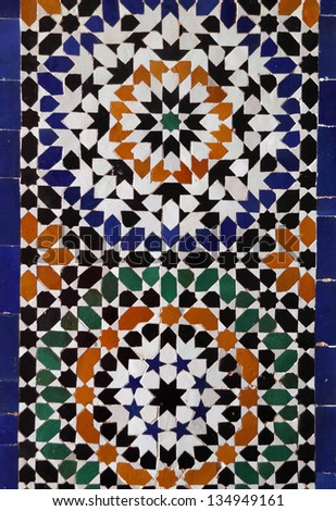 Morocco, Typical historical glazed mosaic ceramic tiles with Islamic pattern