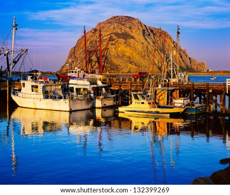 Morro Bay Harbor and Morro Rock, California