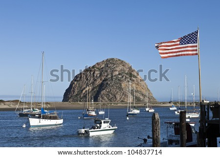 Morro Rock at Morro Bay in Central California, USA.