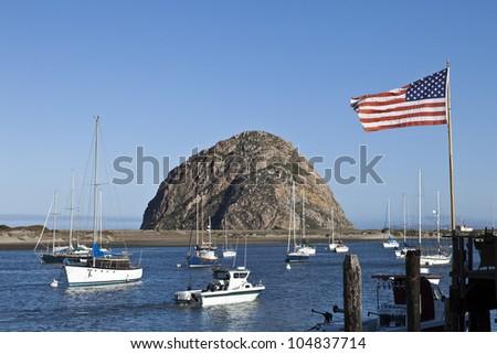 Morro Rock at Morro Bay in Central California, USA.