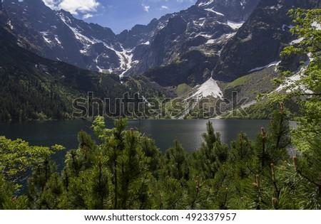 Morskie o ko Lake in Polish Tatra mountains  Zdjęcia stock ©