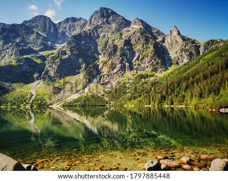 Morskie Oko has a view. Summer in the Tatras, holidays in the mountains. Stock fotó ©