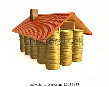 mortage concept - money under roof