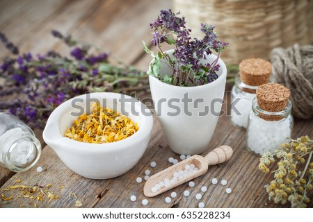 Mortar and bowl of dried healing herbs and bottles of homeopathic globules.  Homeopathy medicine concept. Stock photo ©