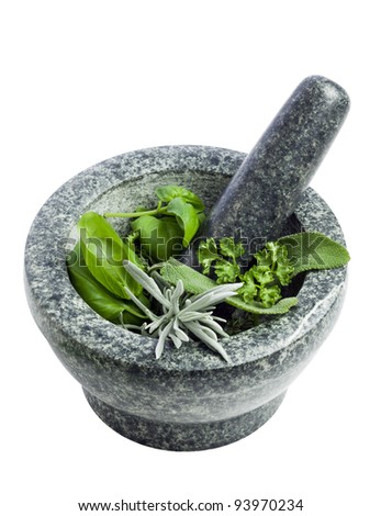 mortar and pestle, filled with fresh herbs, isolated on white background