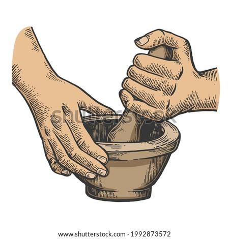 Mortar and pestle in hands color line art sketch engraving raster illustration. T-shirt apparel print design. Scratch board imitation. Black and white hand drawn image.