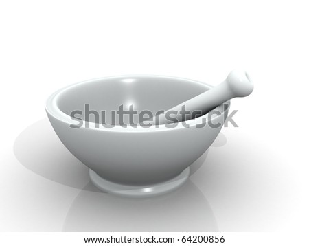 Mortar and pestle isolated in white background