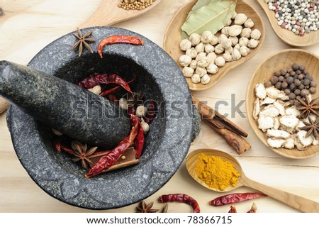 Mortar and Pestle with Spices