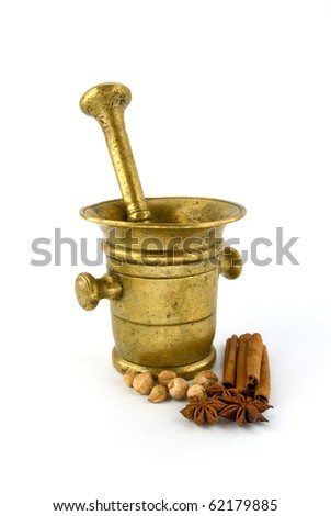 mortar and spice on white background