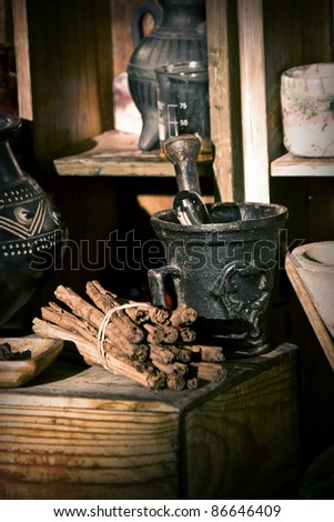 Mortar in old laboratory - stock photo