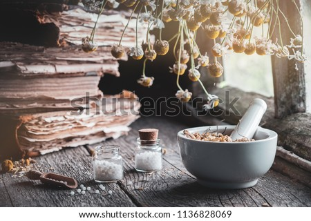 Mortar of dried healing herbs, bottles of homeopathic globules, old books and bunch of dry chamomile plant. Homeopathy medicine.