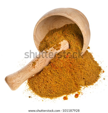 mortar with curry powder spice isolated on white background