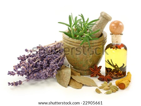 Mortar with fresh rosemary, oil and dried spices isolated on white background