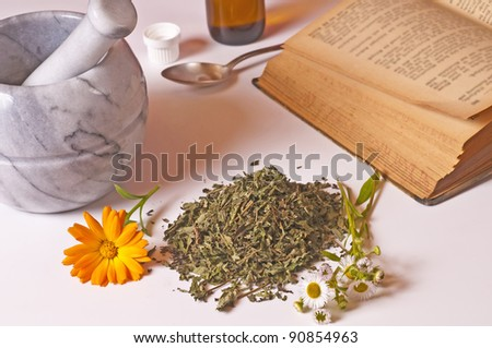mortar with herbs and tincture