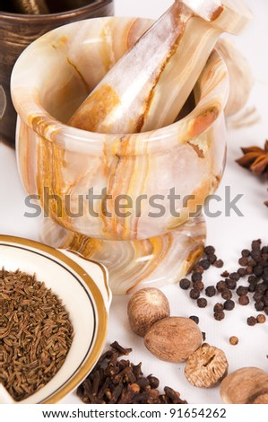 mortar with spices - stock photo