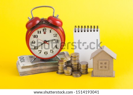 mortgage financing concept. Prepared Polish banknotes for buying a house