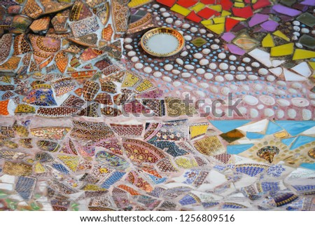 Mosaic background / Abstract ceramic tiles colorful pattern floor and wall broken piece mosaic design  #1256809516