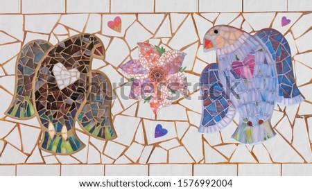 Mosaic bird and mosaic flowers. Mosaic tile, decor, insert.