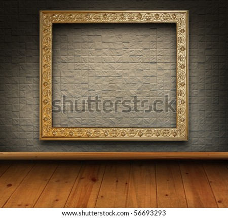 mosaic brick grunge interior with picture frame