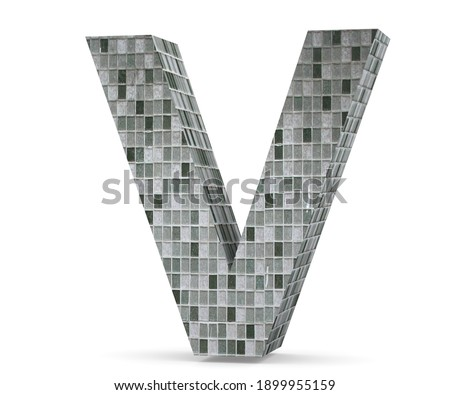 Mosaic Capital Letter - V isolated on white background. 3D render Illustration Photo stock ©