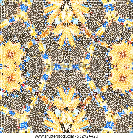 Mosaic colorful artistic pattern for wallpapers, ceramic tiles and design