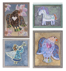 Mosaic decor in  frame.  Mosaic picture  for interior. Mosaic bird, angel, fox, horse