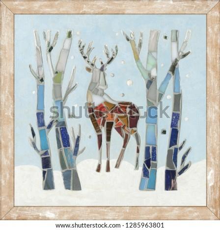 Mosaic deer decoration. Christmas forest. Mosaic forest. Mosaic deer. Cristmas deer. #1285963801