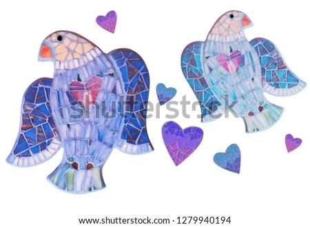 Mosaic dove with mosaic heart. #1279940194