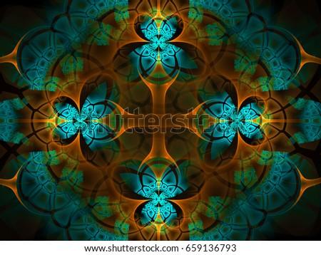 Mosaic Flower Cross Background   - Fractal Art