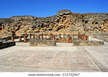 Mosaic in the Roman ruins of Conimbriga - stock photo