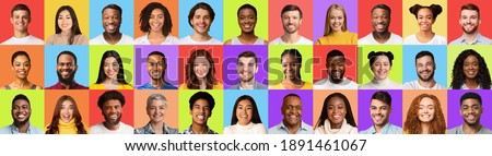 Mosaic Of Diverse Smiling Faces Of Successful Males And Females Portraits Over Different Colorful Studio Backgrounds. Social Diversity Concept. Headshots Collage, Panorama