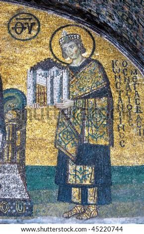 Mosaic of Emperor Constantine in the Hagia Sofia church, Istanbul, Turkey - stock photo