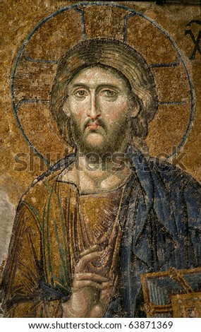 Mosaic of Jesus Christ in church of Hagia Sofia, Istanbul, Turkey