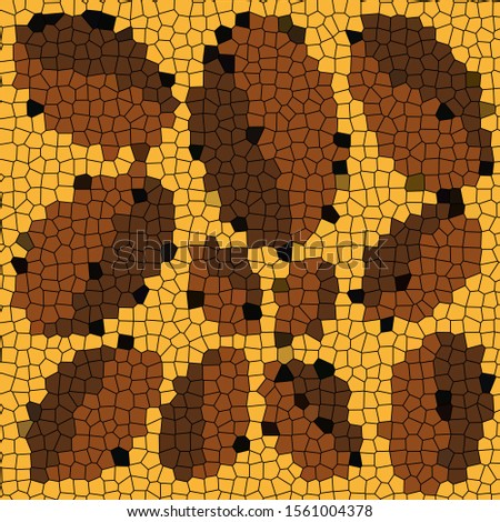 Mosaic of ovals of different sizes on a yellow background. Abstract bitmap of yellow, brown and dark brown colors.