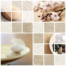 Mosaic of serene, zen-like, tranquil, spa images