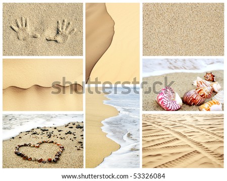 Mosaic of summer sand textures, backgrounds, and beach images