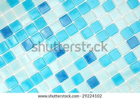 mosaic of tiles in the bathroom as a background - stock photo