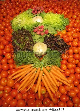 Mosaic of vegetables, tomatoes background
