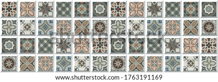 mosaic pattern, background wall tiles and colorful Motif digital wall tiles, portuguese, spanish, italian style elements,Ceramics, tiles, mosaic, abstract Motif. Multi colored wall art decor. Photo stock ©