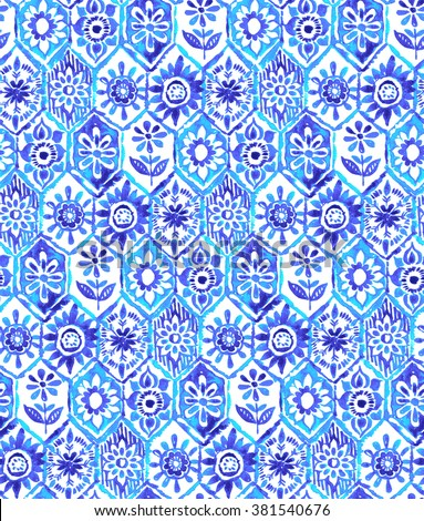 mosaic pattern in blue colors. trendy for fashion and swimwear, textile design. indigo frames with little ethnic folk motives. seamless design.