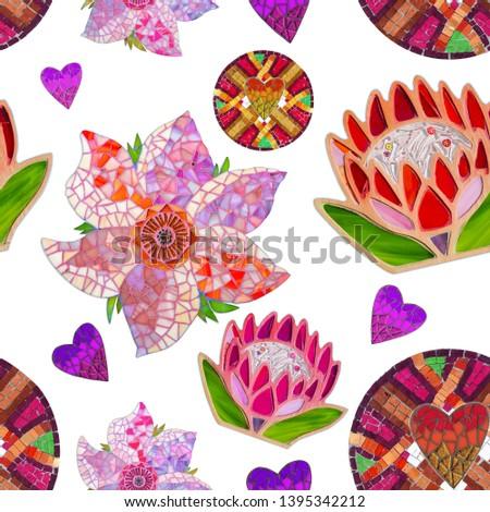 Mosaic pattern with mosaic decor. Mosaic flowers and mosaic heard.