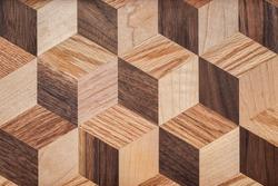 Mosaic pattern wooden board texture background.  Prismatic mosaic pattern texture background.  Various wooden boards texture background.