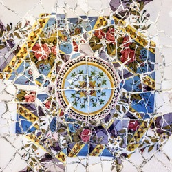 mosaic tile, decoration, broken glass, Park Guell, Barcelona, Spain. Designed by Gaudi