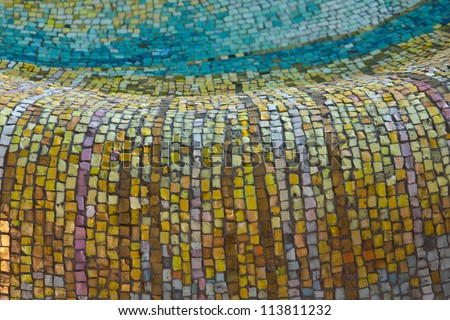 Mosaic tiles pattern in yellow, gold, blue and related colors