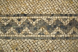 Mosaic tiles with squares and zigzag pattern