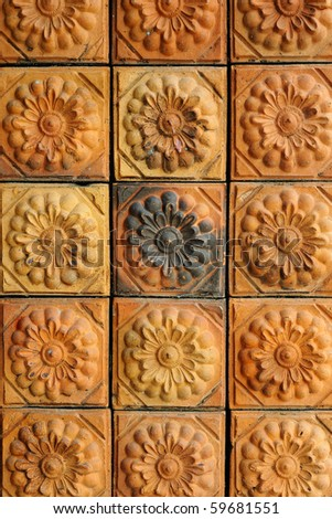 Mosaic wall baked clay - stock photo