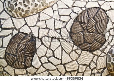Mosaic wall decorative ornament from broken ceramic tiles
